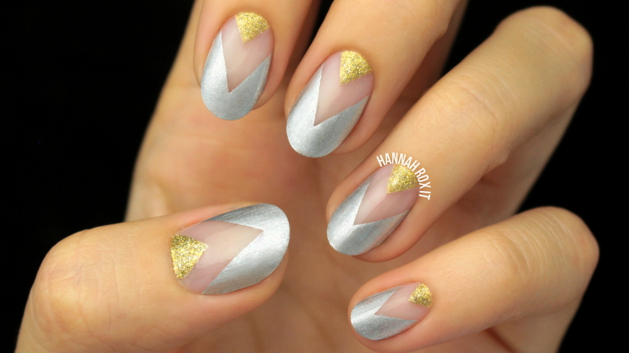 Tutorial Gold Silver Negative Space Nails Hannah Rox It
