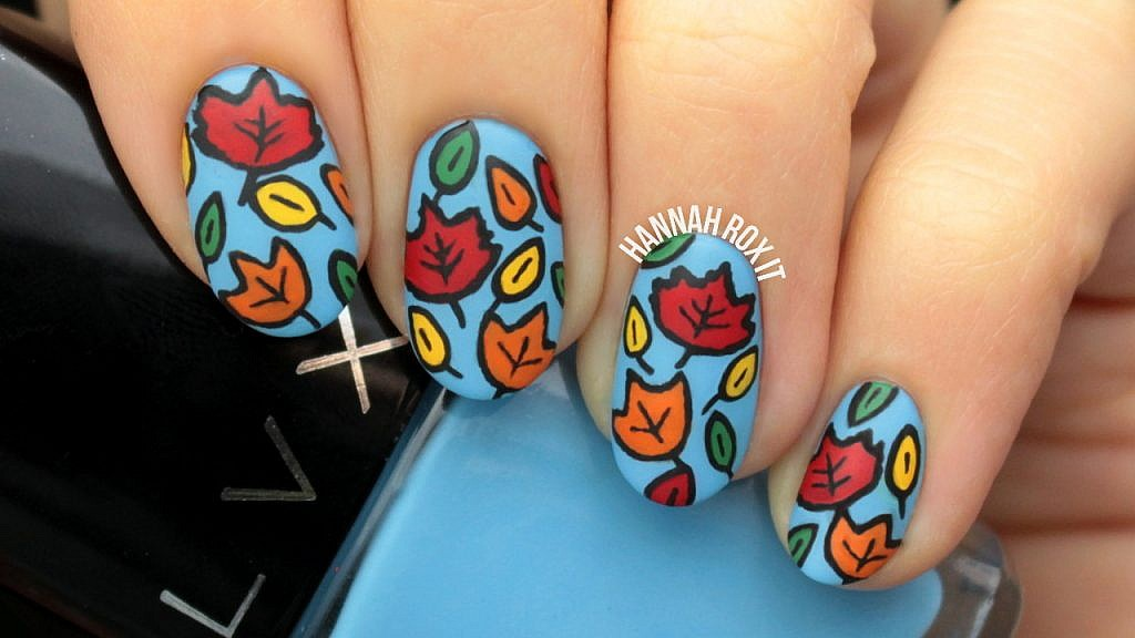 Tutorial: Cartoon Autumn Leaves Nail Art