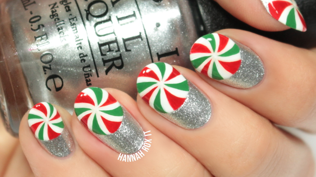 Christmas Peppermint Nail Art Tutorial