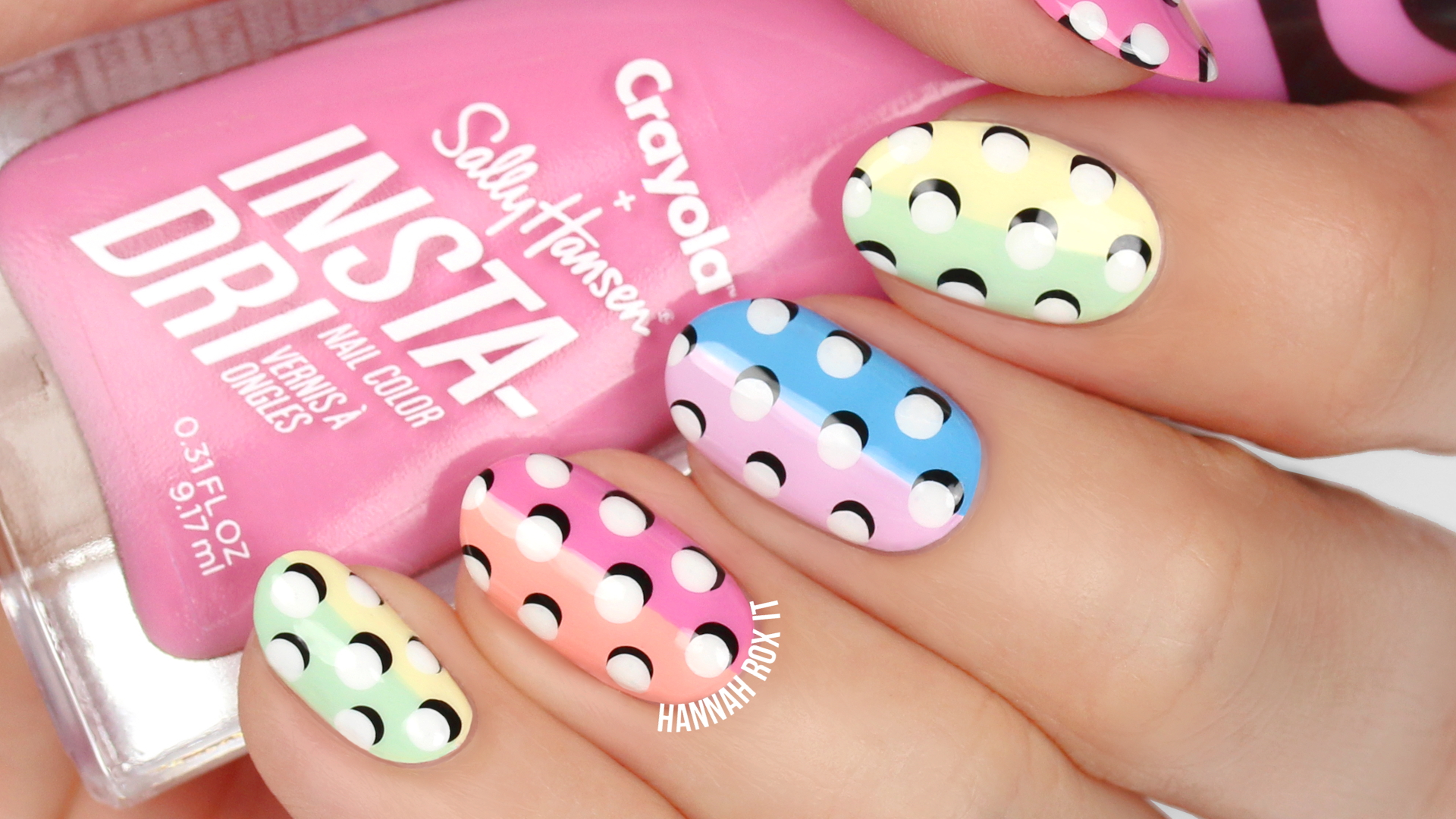 Tutorial 3d Dot Color Blocking Nail Art Hannah Rox It
